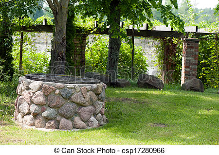 Stone Wall clipart stone well Stone park well Search Photo