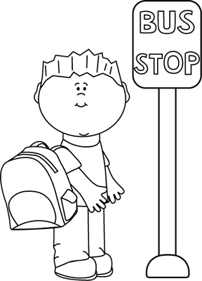 Stop clipart black and white Bus at Stop and Black