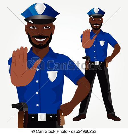 Stop clipart police man Clipart African gesture csp34960252 showing