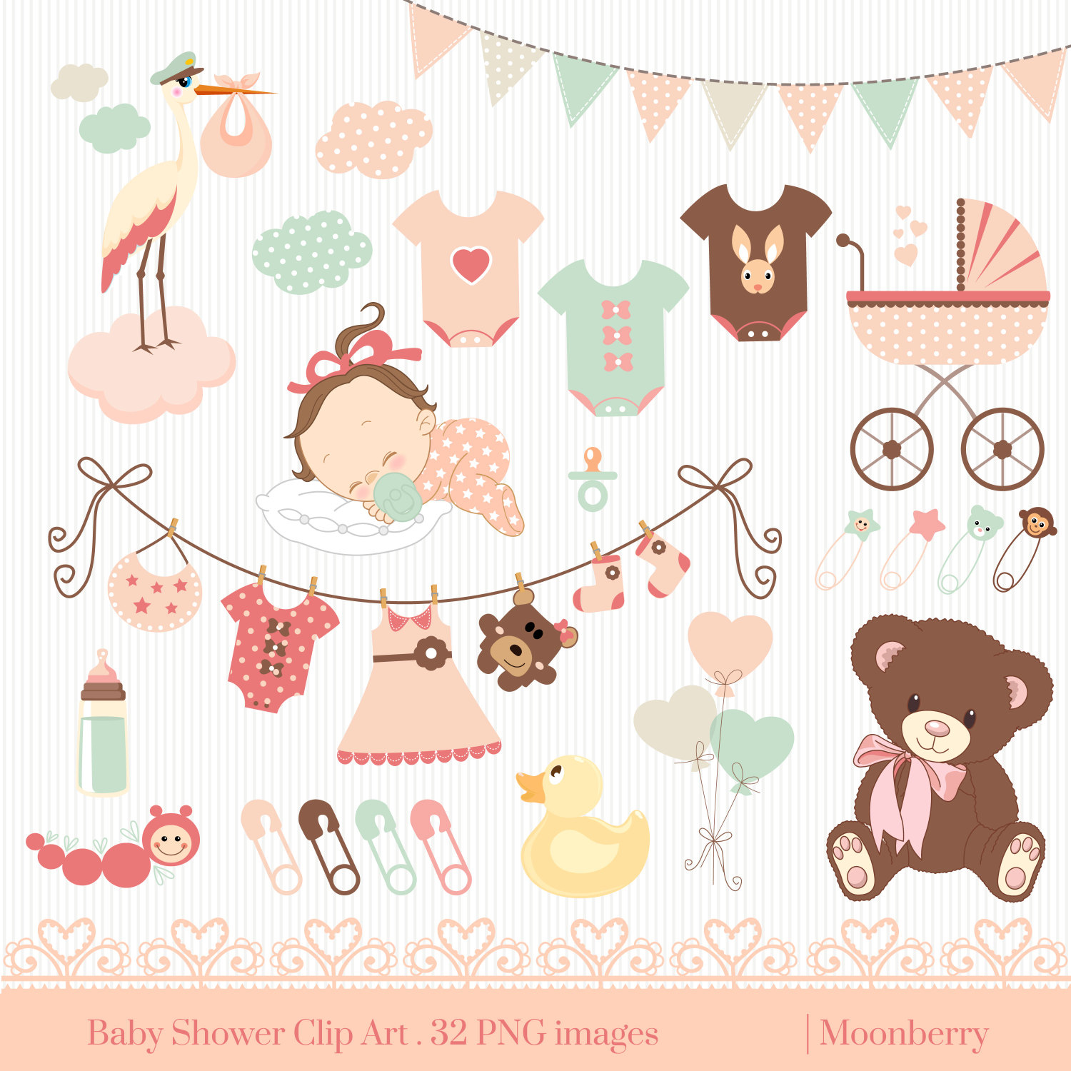 Baby clipart baby shower Invitation Shower Clip