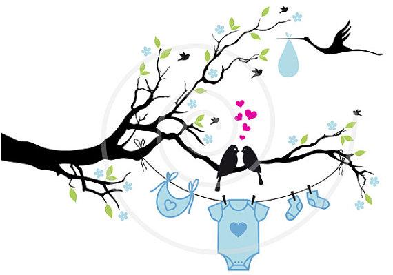 Bird clipart baby boy Digital baby EPS art girl