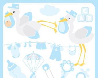 Blue clipart stork Birth stork stork shower Commercial