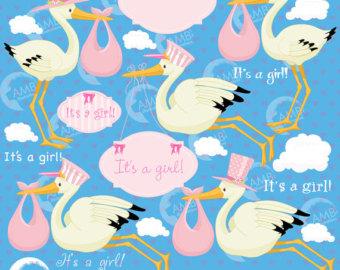 Blue clipart stork Clipart Girl Baby clip New