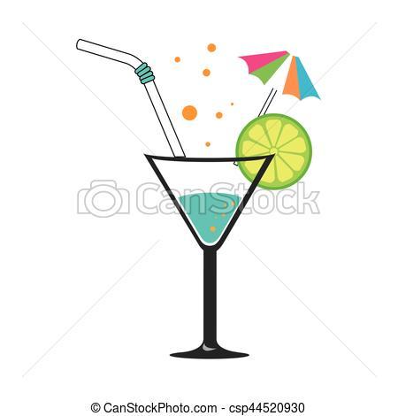 Straw clipart colorful Of umbrella slice cocktail lemon
