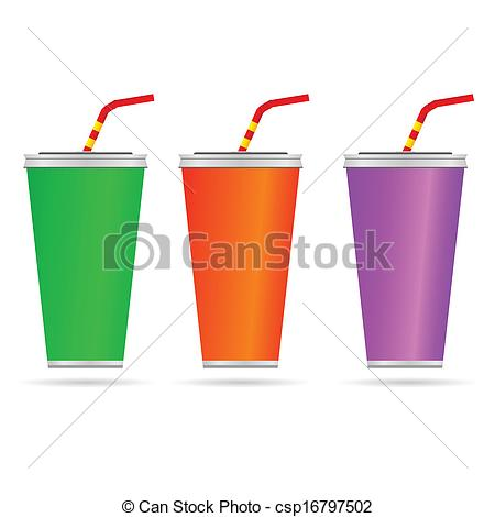 Straw clipart juice A of vector color with