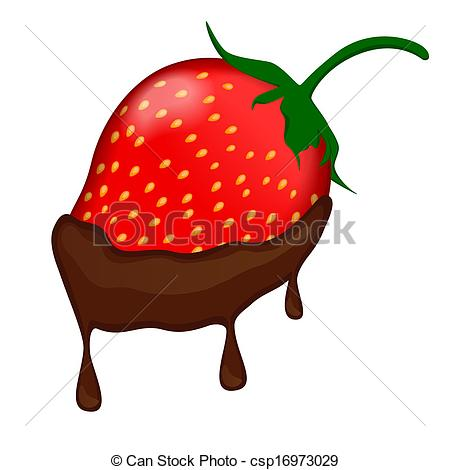Covered clipart vector Strawberry chocolate strawberry Illustration