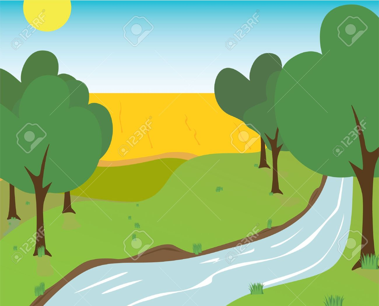 River Landscape clipart river bank #1