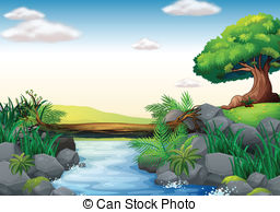 Sream clipart river pollution Art a Illustrations of of