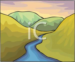Sream clipart brook With A Stream Hilly Hilly