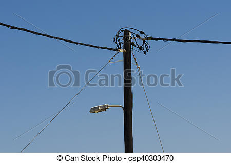 Streetlight clipart electrical pole On light line with wooden