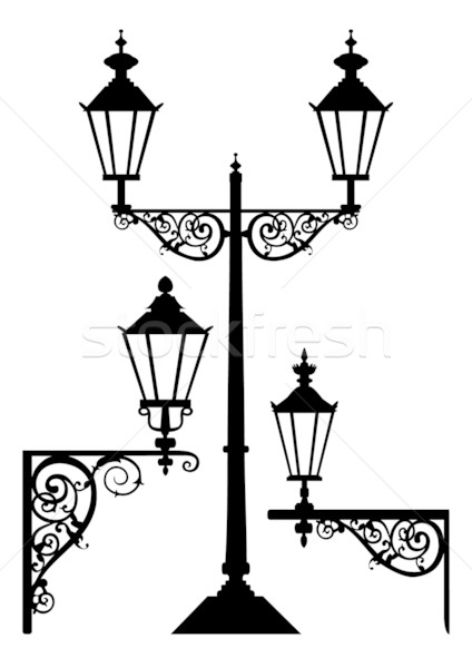Streetlight clipart vintage lamp Lightbox light vector Set comp