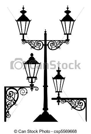 Streetlight clipart poste Csp5569668  antique Set lamps