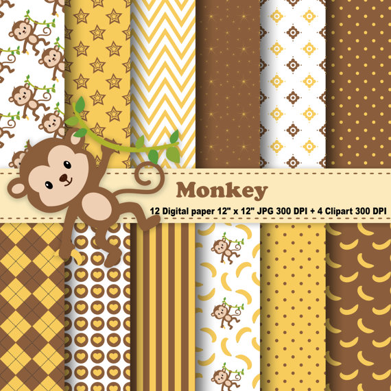 Stripe clipart jungle animal Monkey Chevron Banana Jungle Commercial