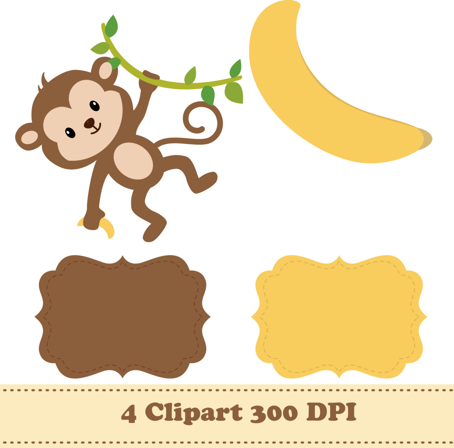 Stripe clipart jungle animal Animals Banana digital This