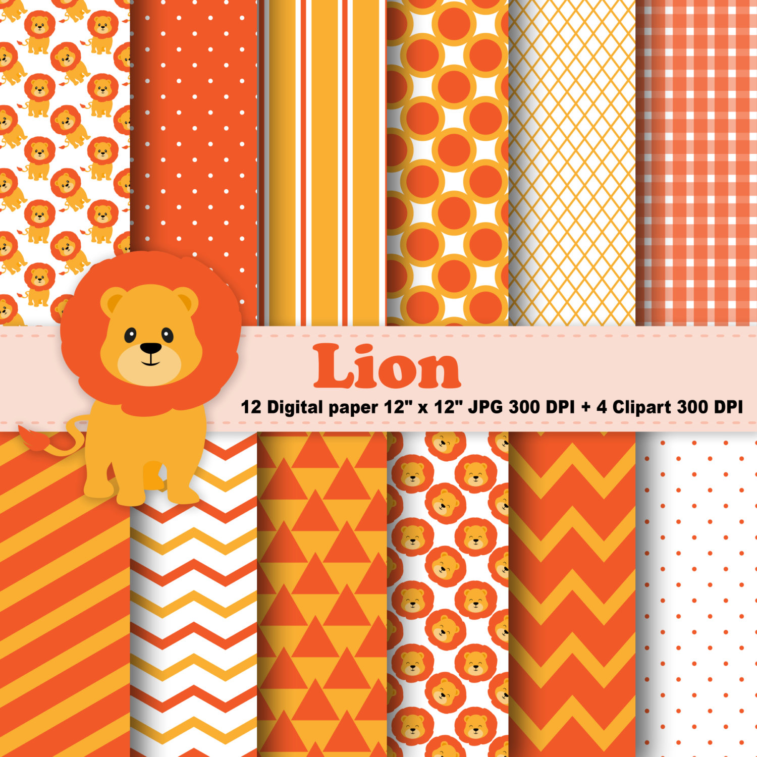 Stripe clipart jungle animal Polka Jungle digital This Dots