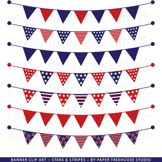 Stripe clipart red and blue Red Stars and White Banner