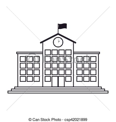 Structure clipart high School with clock clock with