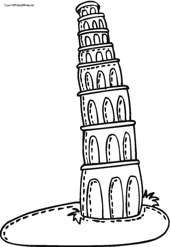 Structure clipart leaning tower Of Tower coloring Coloring Leaning