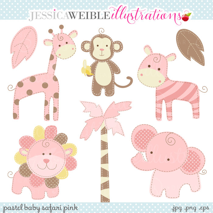 Baby Animal clipart pastel Baby Commercial Pastel Clipart Pink