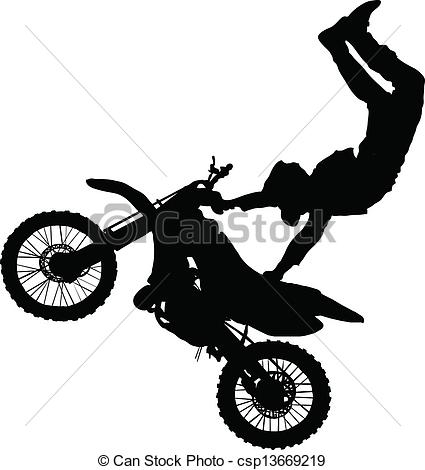 Stunt clipart bike racing Of of Clip Silhouette performing
