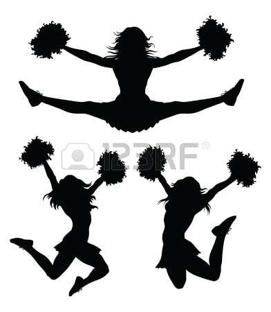 Stunt clipart black and white Cheerleader Clipground silhouette cheer 2