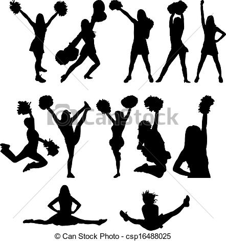 Stunt clipart drawing cheer Silhouette of Cheer clipart art