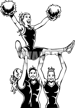 Stunt clipart drawing cheer With Cheerleader Pompoms Clipart Free
