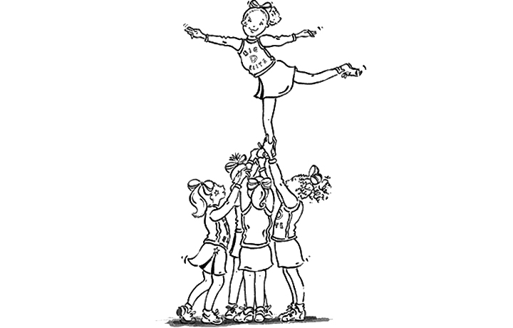 Stunt clipart drawing cheer · Coloring Cheerleading Cheer 19141