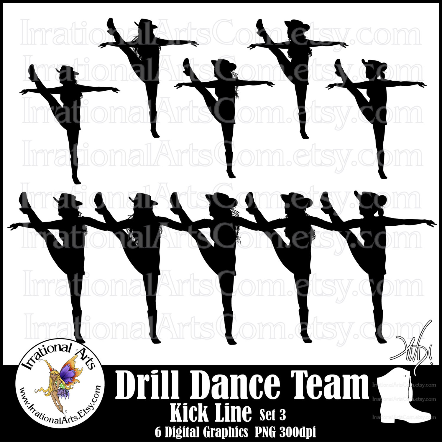 Stunt clipart drill team Dance Silhouettes png set Drill