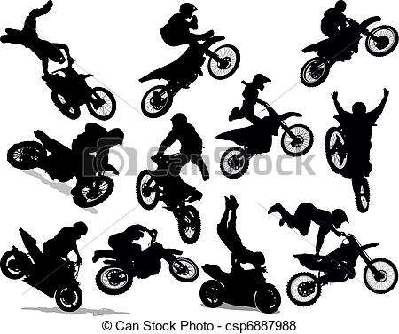 Stunt clipart freestyle motocross Clip csp6887988 Silhouette Stunt Set
