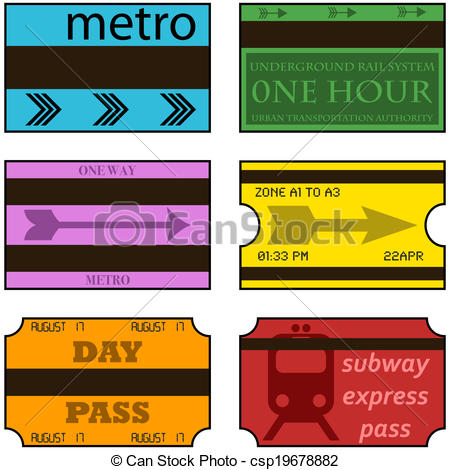 Subway clipart cartoon Of Vintage illustration showing tickets