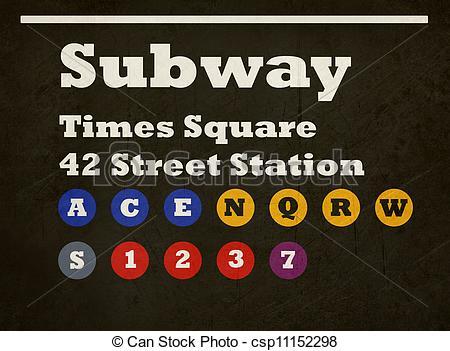 Subway clipart nyc subway Subway Grunge Times sign Square