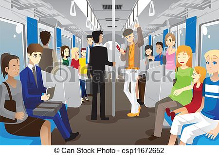 Subway clipart passenger train Train in A People Vector