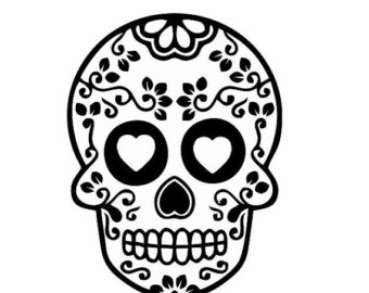 Sugar Skull clipart Black White: Main Sugar Skull
