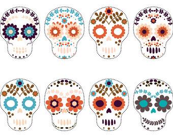 Sugar Skull clipart Sugar art White Colorful clipart