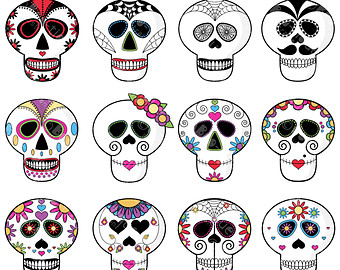 Sugar Skull clipart pattern Skull of Digital Sugar Clipart