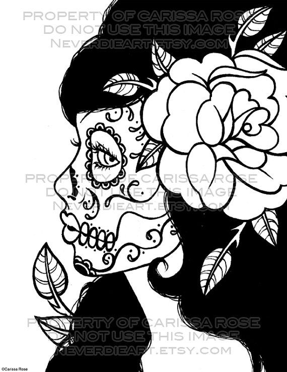 Day Of The Dead clipart coloring sheet Dead Download Day Digital Skull