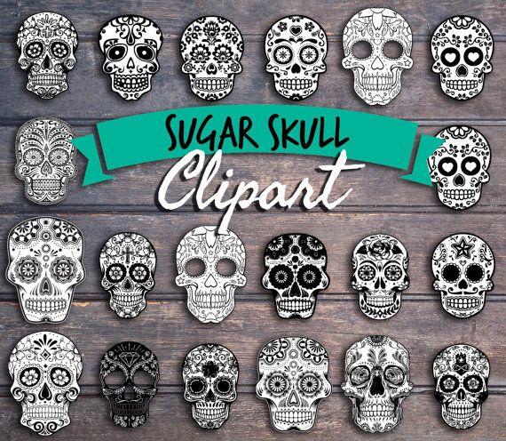 Sugar Skull clipart cinco de mayo Instant art los Clipart 20+