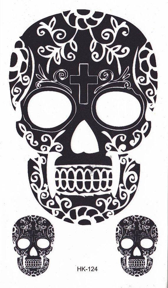 Sugar Skull clipart cinco de mayo Henna Tattoo and Temporary Black