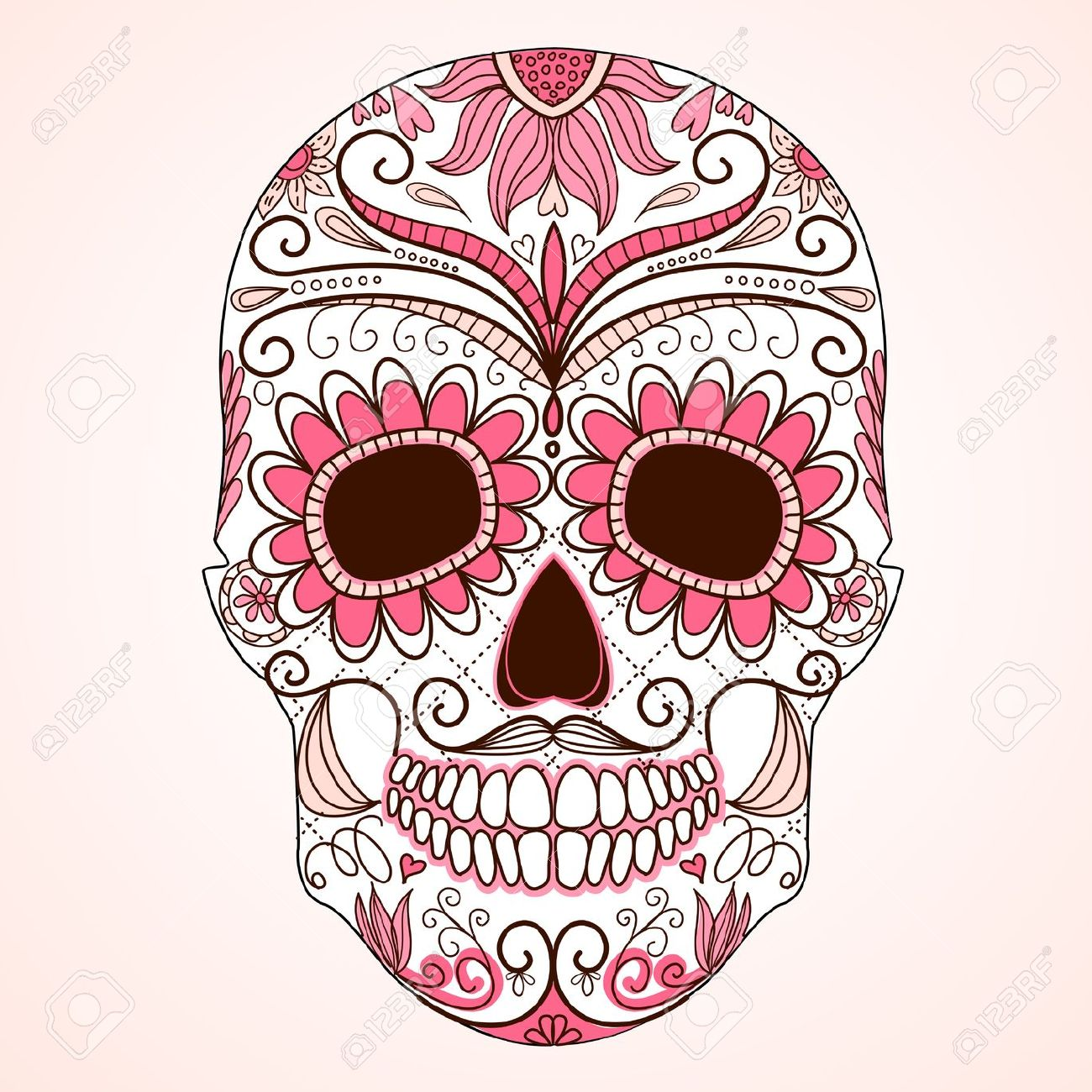 Day Of The Dead clipart face More Floral de and With