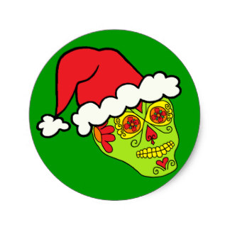 Sugar Skull clipart classic Skull on Sticker Christmas Zazzle