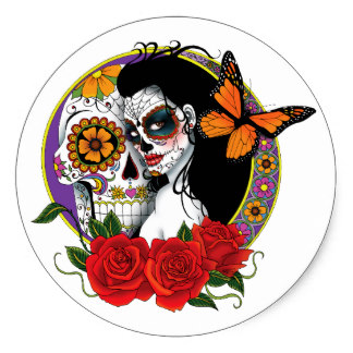 Sugar Skull clipart classic Zazzle Skull Roses Sticker Skulls