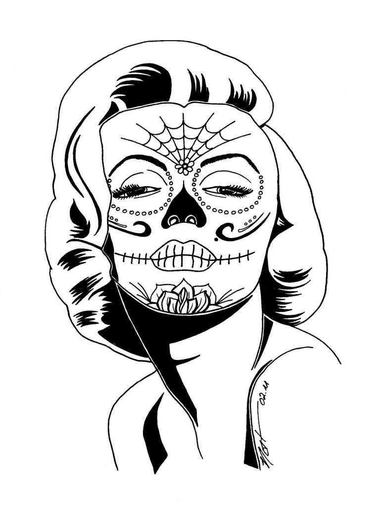 Drawn skull coloring page Sugar skull sugar  hanss