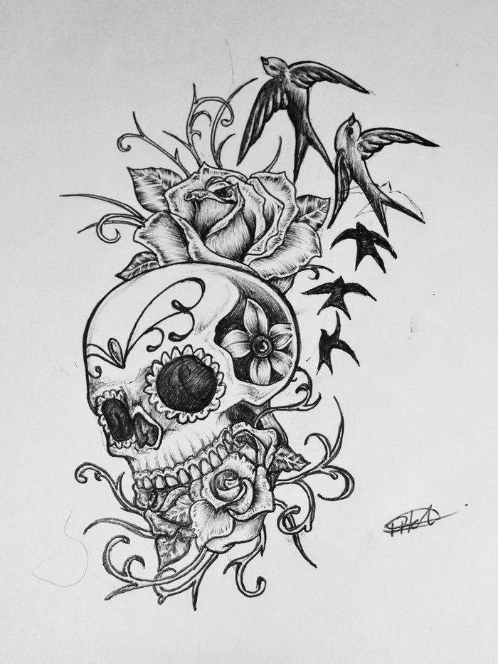 Drawn ssckull girly skull Clip Simple Free Tribal Skull