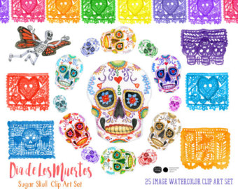 Day Of The Dead clipart papel picado Sugar Sugar Dia Muertos Clipart