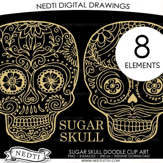 Sugar Skull clipart dia del Instant the Dead Clip Download