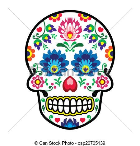 Sugar Skull clipart dia del Polish los Muertos of folk