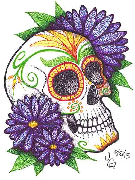 Sugar Skull clipart dia del Dia Colorful Sugar Drawing de