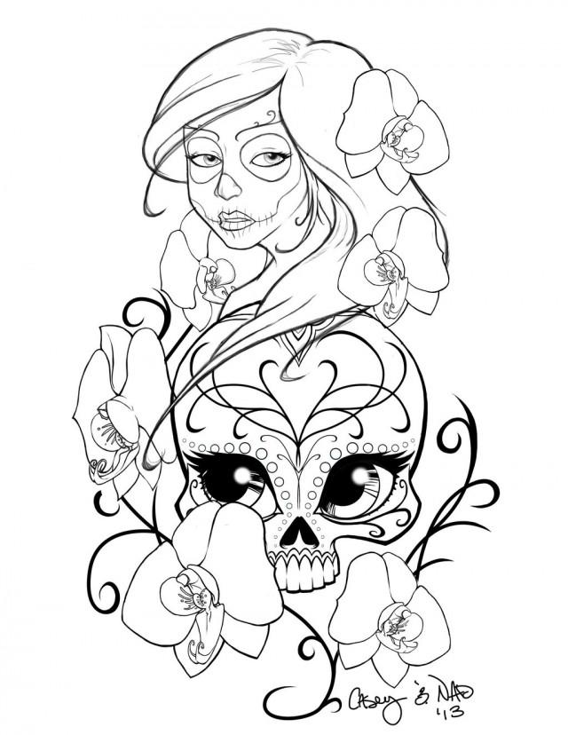 Drawn skull coloring page On Download Sugar Skull Art