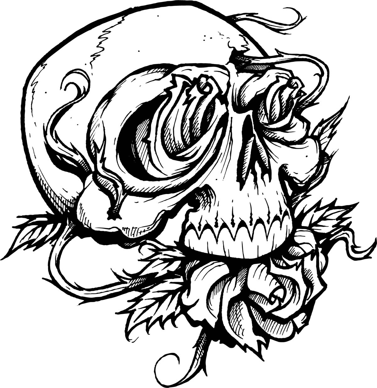 Drawn skull coloring page Clip For Tattoo And Free